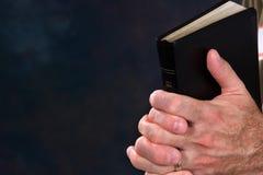 Mãos Praying com a Bíblia Imagens de Stock