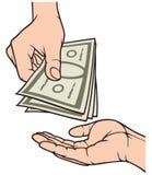 Mãos que dão e que recebem o dinheiro Imagens de Stock