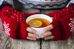 Mãos que guardam um copo do chá Fotografia de Stock Royalty Free
