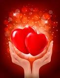 Mãos que guardaram dois corações vermelhos. Vetor Fotografia de Stock Royalty Free