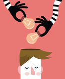 Mãos que roubam ampolas da ideia da cabeça, Fotografia de Stock