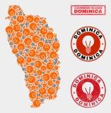 Mosaïque électrique Dominica Island Map d'ampoule et joints rayés illustration libre de droits