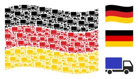 Mosaïque allemande de ondulation de drapeau de la livraison Lorry Icons Illustration Stock