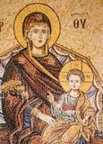 Mosaïque bizantine de Madonna et d'enfant, monastère de Preveli, île de Crète, Grèce Photo libre de droits