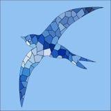 Mosaïque bleue de couleur d'oiseau d'hirondelle illustration stock