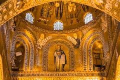 Mosaïque d'or dans l'église de Martorana de La, Palerme, Italie Image stock