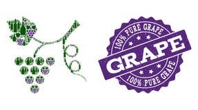 Mosaïque d'usine de raisin des bouteilles de vin et du raisin et du timbre de grunge photographie stock libre de droits