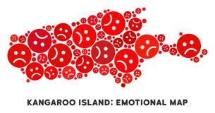 Mosaïque de carte d'île de kangourou de crise de vecteur des smiley tristes illustration libre de droits