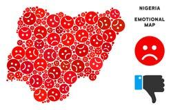 Mosaïque de carte du Nigéria de Dolor de vecteur d'Emojis triste illustration stock