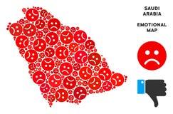 Mosaïque de carte de l'Arabie Saoudite de crise de vecteur d'Emojis triste illustration de vecteur