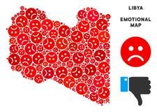 Mosaïque de carte de la Libye de crise de vecteur d'Emojis triste illustration stock