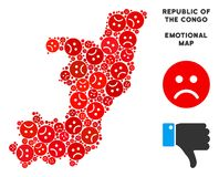 Mosaïque de carte de la République du Congo de crise de vecteur d'Emojis triste illustration libre de droits
