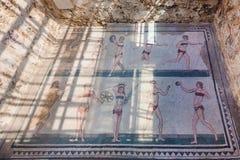 Mosaïque de filles de bikini en villa Romana del Casale Images libres de droits