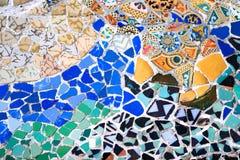 Mosaïque de Gaudì en parc Guell Barcelone Espagne Photos stock