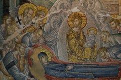 Mosaïque de Koimesis dans l'église de Chora photographie stock