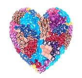 Mosaïque de pierre gemme de mode Concept de luxe d'amour Photos stock
