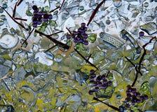 Mosaïque de raisins en verre souillé Photo libre de droits