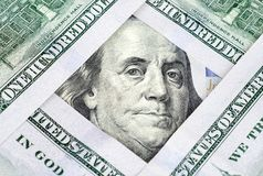 Mosaïque faite de cent plans rapprochés de billets de banque du dollar Photo stock