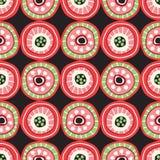 Mosaïque folklorique colorée de cercle sur le modèle sans couture de vecteur foncé de fond Copie géométrique tirée par la main au illustration stock