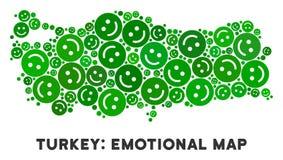 Mosaïque heureuse de carte de la Turquie de vecteur des smiley illustration stock