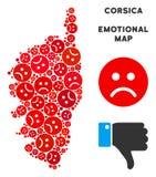 Mosaïque malheureuse de carte d'île de Frances de la Corse de vecteur des smiley tristes illustration stock