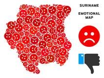 Mosaïque malheureuse de carte du Surinam de vecteur des smiley tristes illustration de vecteur