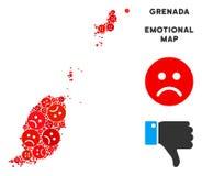 Mosaïque pitoyable de carte du Grenada de vecteur des smiley tristes illustration stock