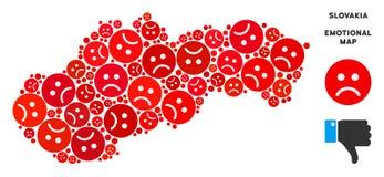 Mosaïque pitoyable de carte de la Slovaquie de vecteur d'Emojis triste illustration de vecteur
