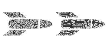 Mosaïque Rocket Icons des outils de réparation illustration libre de droits