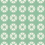 Mosaïque sans couture de modèle de vecteur abstrait des fleurs dans la disposition linéaire sur le fond vert Rétro conception nat illustration libre de droits