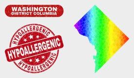 Mosaïque spectrale Washington District Columbia Map et timbre hypoallergénique de détresse illustration stock