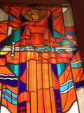 Mosaïque sur le verre avec l'image d'une héroïne féminine images libres de droits