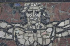 Mosaic. Cobblestone decoration in the city center Royalty Free Stock Photo