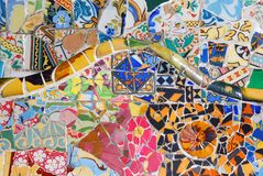 Mosaic. Colorful design of mosaic in Park Guell, Barcelona Royalty Free Stock Photo