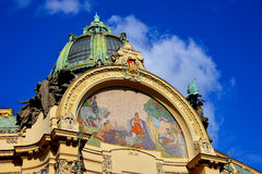 Mosaic above the entrance of Prague municipal house Royalty Free Stock Photos