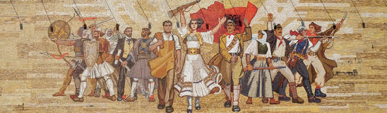 Mosaic above the National History Museum featuring Socialist propaganda and heroic revolutionary, Tirana. Albania stock photography