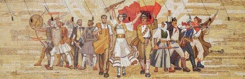 Mosaic above the National History Museum featuring Socialist propaganda and heroic revolutionary, Tirana Stock Photos