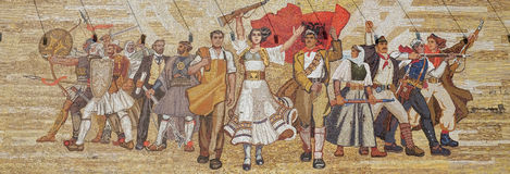 Mosaic above the National History Museum featuring Socialist propaganda and heroic revolutionary, Tirana. Albania Royalty Free Stock Image