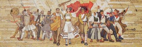 Mosaic above the National History Museum featuring Socialist propaganda and heroic revolutionary, Tirana Royalty Free Stock Image