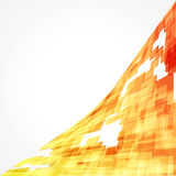 Mosaic abstract background. The orange boxes and white contours white background. The triangular composition Stock Photos
