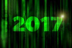 2017 mosaic abstract digital science fiction matrix like background with happy new year concept. 2017 mosaic abstract digital science fiction matrix background Stock Photography
