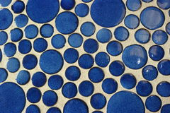 Mosaic abstract pattern. Blue mosaic abstract pattern circular glass mosaics close-up white background Stock Images