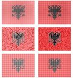 Mosaic Albania flag set. Mosaic Albania national flag vector design set Stock Images