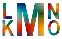 Mosaic Alphabet Letters K, L, M, N, O Stock Photo