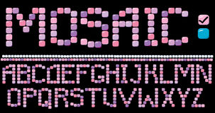 Mosaic alphabet  - pink color Royalty Free Stock Image