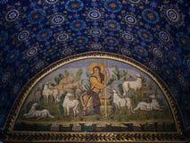 Mosaic in ancient Galla Placidia mausoleum Royalty Free Stock Photo