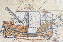 Mosaic of ancient greek ship, Canakkale. Turkey Royalty Free Stock Photography