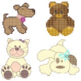 Mosaic animals. Collection of mosaic animals - pixelated illustration Stock Illustration