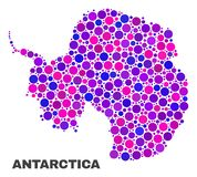 Mosaic Antarctica Continent Map of Round Dots. Mosaic Antarctica continent map isolated on a white background. Vector geographic abstraction in pink and violet stock illustration