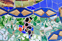 Mosaic of Antoni Gaudi in Guell park Stock Photos